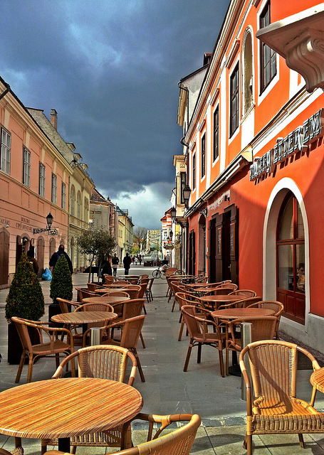 Streetside cafe in Gyor, Hungary