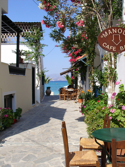 Street scene in Naxos, Cyclades, Greece