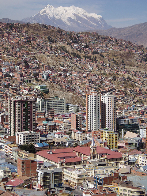 Panoramic view on La Paz, the highest capital in the world, Bolivia