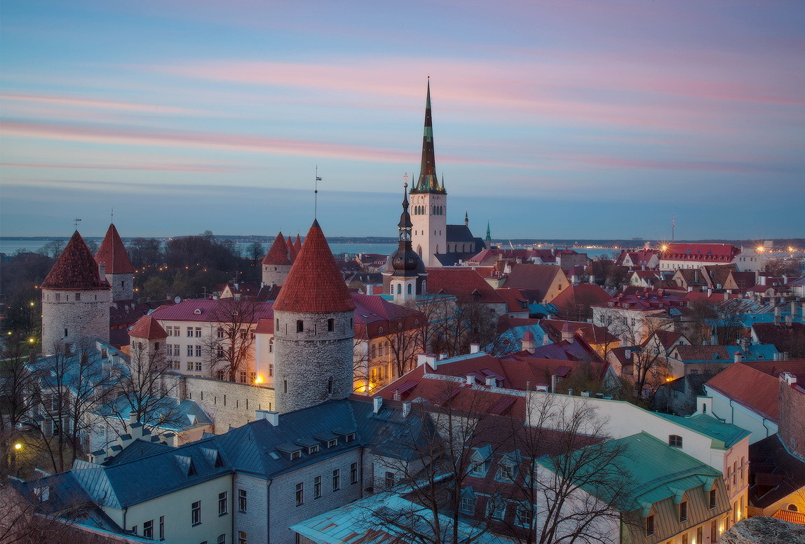 Evening view of the old town in Tallinn, Estonia