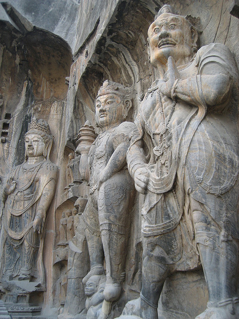 Rock-carved statues at Longmen Caves in Henan, China