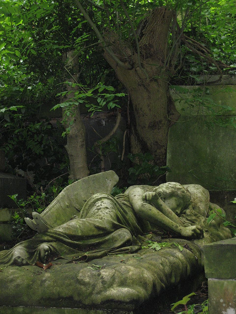 Sleeping angel at Highgate Cemetery in London, England