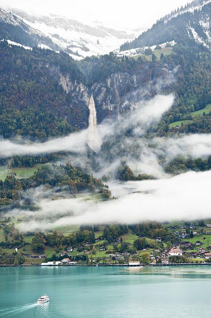 Morning fog on the shores of Lake Brienz, Switzerland