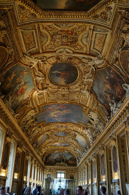 Ceiling of Apollo Gallery at Louvre Museum in Paris, France