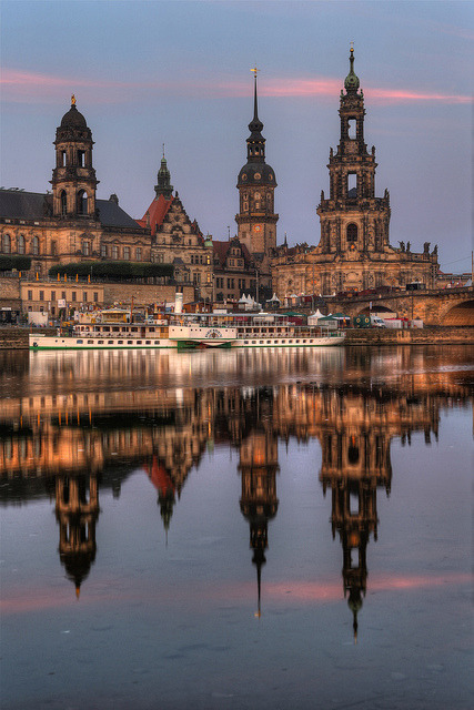 The towers of Dresden in Saxony, Germany
