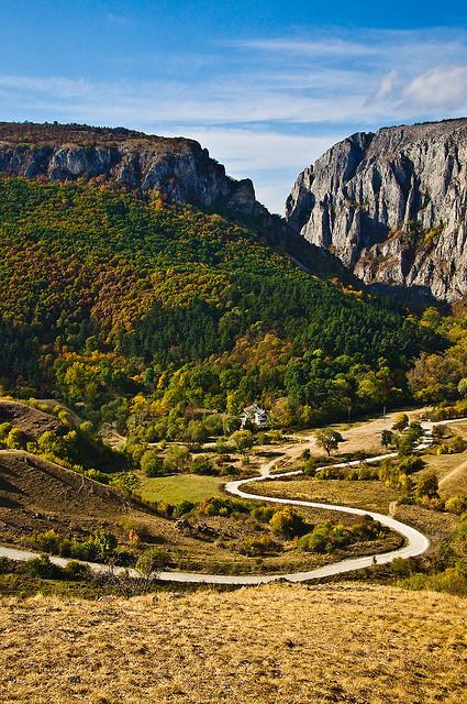The road to Turda Gorge in Transylvania, Romania