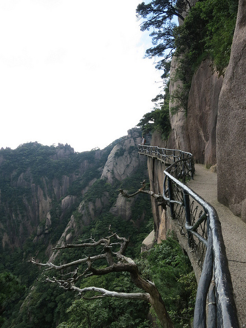 Cliffside path at Mount Sanqing in Jiangxi / China