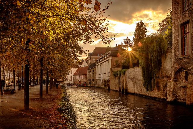 Evening stroll along Dijver canal, Bruges / Belgium