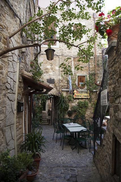 Backyard restaurant in Seborga, Liguria / Italy